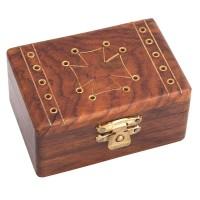 Relikviár drevený s mosadznými prvkami 01