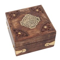 Relikviár drevený s mosadznými prvkami 06
