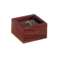 Relikviár drevený so sklom a mosadzným krížom 02