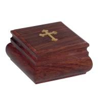 Relikviár drevený s mosadzným krížom 01