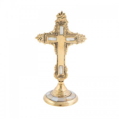 Kríž mosadzný s perleťou 01