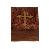 Relikviár drevený s mosadzným krížom 04