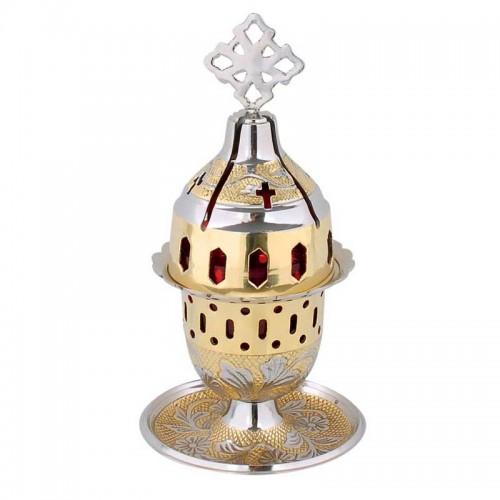 Lampáda dvojfarebná (mosadz nikel) jednoduchá gravírovaná s podnosom