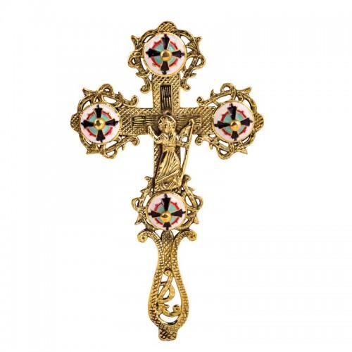 Kríž mosadzný gravírovaný ručný so smaltom