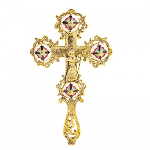 Kríž pozlátený gravírovaný ručný so smaltom