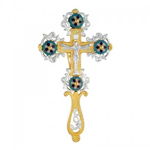 Kríž dvojfarebný (pozlátený postriebrený) gravírovaný ručný so smaltom