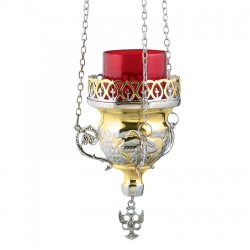 Lampáda retiazková dvojfarebná (mosadz nikel) s hroznovými listami 02