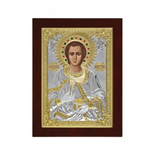 Srtieborná ikona - Sv. Panteleimon, vzor 1