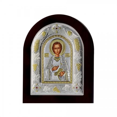 Srtieborná ikona - Sv. Panteleimon, vzor 2
